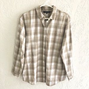 Lafayette 148 Gingham Cotton Button Down Shirt S